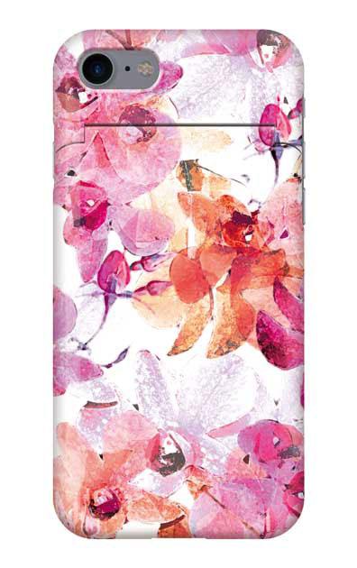 iPhone8のミラー付きケース、アートフラワー・オーキッド【スマホケース】