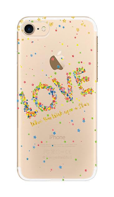 iPhone7のクリア(透明)ケース、星屑ラブドットメッセージ【スマホケース】
