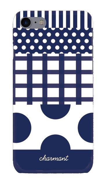 iPhone8の手帳型ケース、ツインドットストライプチェック【スマホケース】