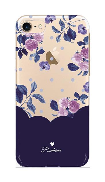 iPhone7のクリア(透明)ケース、ツインドットフラワー・エレガント【スマホケース】