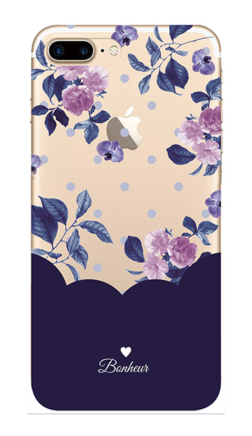 iPhone7 Plusのクリア(透明)ケース、ツインドットフラワー・エレガント【スマホケース】