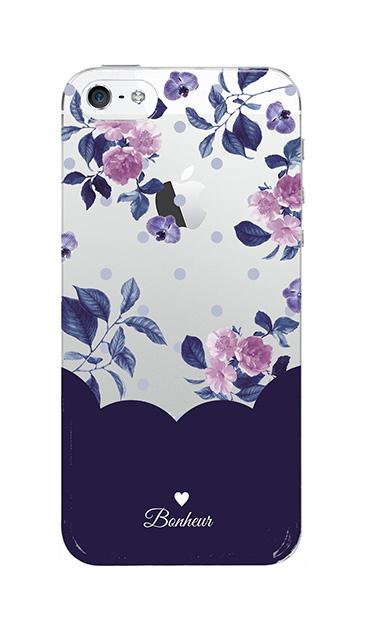 iPhoneSEのクリア(透明)ケース、ツインドットフラワー・エレガント【スマホケース】