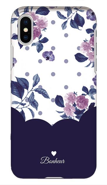 iPhoneXSのケース、ツインドットフラワー・エレガント【スマホケース】