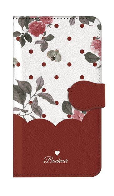 AQUOS ZETAの手帳型ケース、ツインドットフラワー・エレガント【スマホケース】