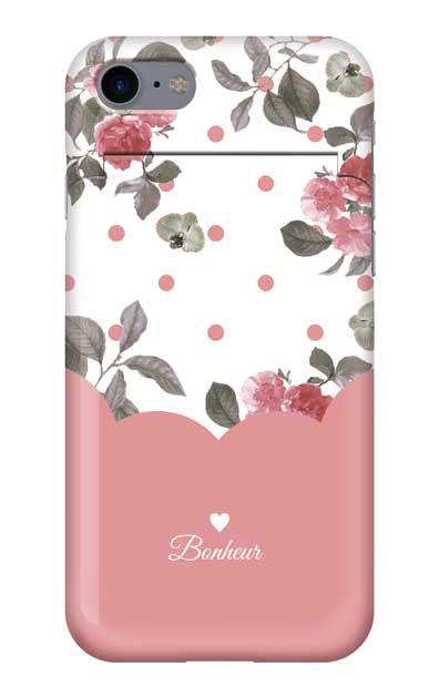 iPhone8のミラー付きケース、ツインドットフラワー・エレガント【スマホケース】