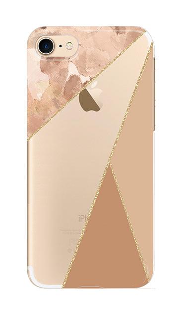 iPhone8のクリア(透明)ケース、マーブルトライアングルパレット【スマホケース】