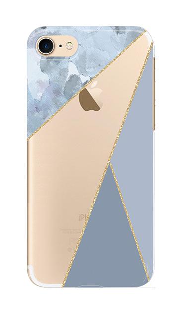 iPhone7のクリア(透明)ケース、マーブルトライアングルパレット【スマホケース】
