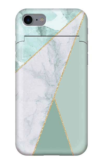 iPhone8のミラー付きケース、マーブルトライアングルパレット【スマホケース】