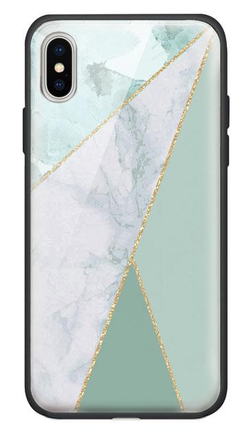 iPhoneXSのケース、マーブルトライアングルパレット【スマホケース】