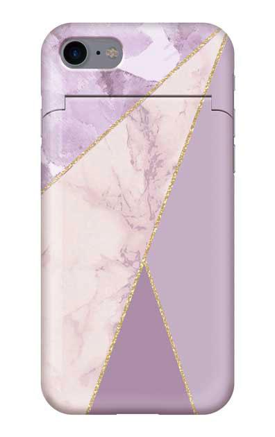 iPhone7のミラー付きケース、マーブルトライアングルパレット【スマホケース】