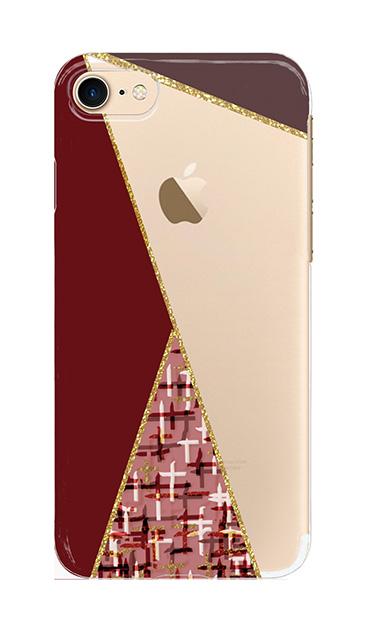 iPhone8のクリア(透明)ケース、ツイードトライアングルパレット【スマホケース】