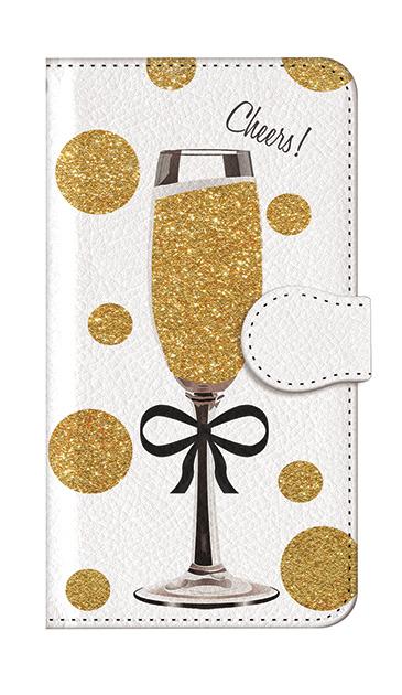 iPhone7の手帳型ケース、シャンパンドット【スマホケース】