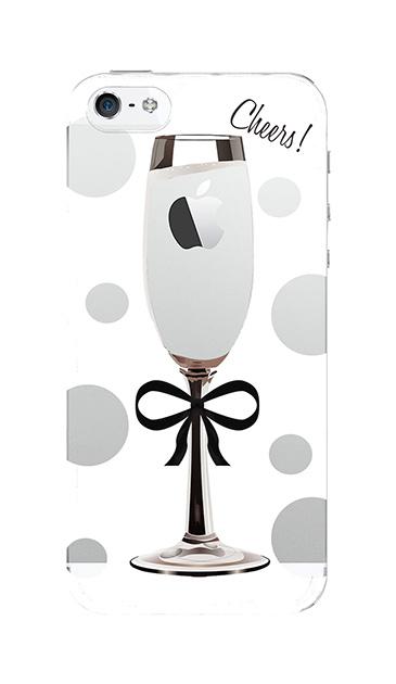 iPhone5Sのクリア(透明)ケース、シャンパンドット【スマホケース】
