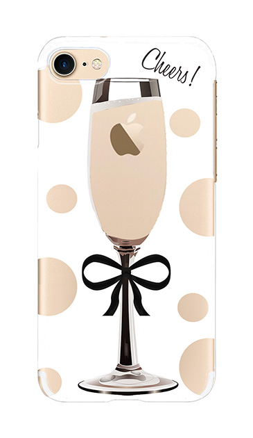 iPhone7のクリア(透明)ケース、シャンパンドット【スマホケース】