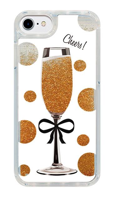 iPhone7のグリッターケース、シャンパンドット【スマホケース】