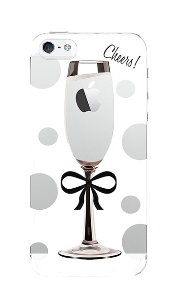 iPhoneSEのケース、シャンパンドット【スマホケース】