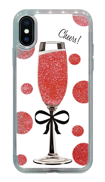 iPhoneXSのケース、シャンパンドット【スマホケース】