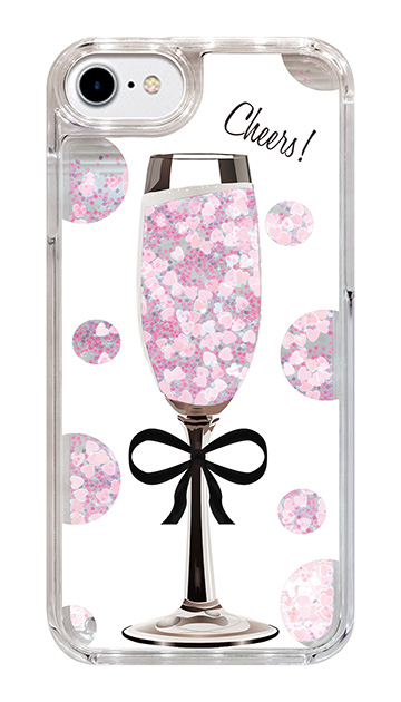 iPhone8のグリッターケース、シャンパンドット【スマホケース】