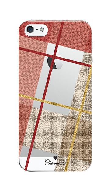 iPhoneSEのクリア(透明)ケース、ビッグツイードチェック【スマホケース】