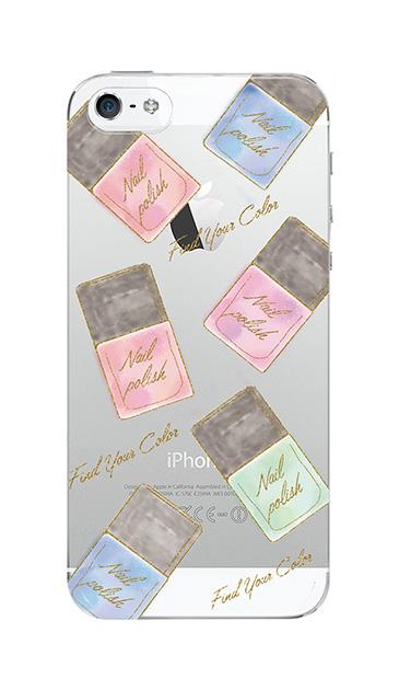 iPhone5Sのクリア(透明)ケース、グラデーションパステルネイル【スマホケース】