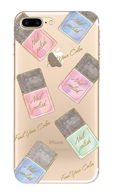 iPhone7 Plusのクリア(透明)ケース、グラデーションパステルネイル【スマホケース】