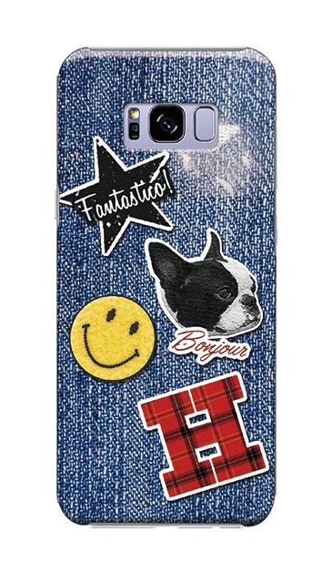Galaxy S8+のケース、デニムワッペンスマイルドッグ【スマホケース】
