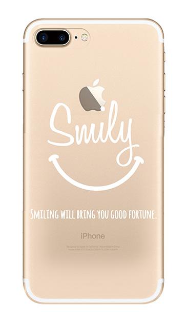 iPhone7 Plusのクリア(透明)ケース、英字スマイリングメッセージ【スマホケース】