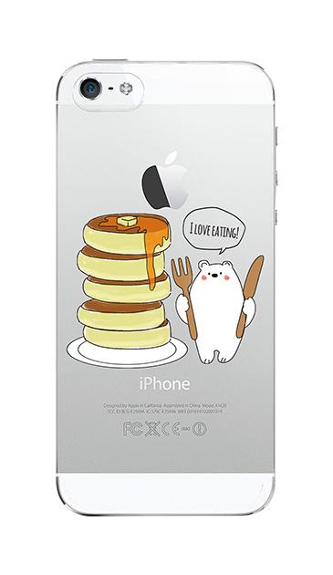 iPhone5Sのクリア(透明)ケース、しろくまパンケーキ【スマホケース】