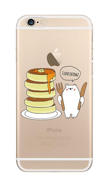 iPhone6sのクリア(透明)ケース、しろくまパンケーキ【スマホケース】