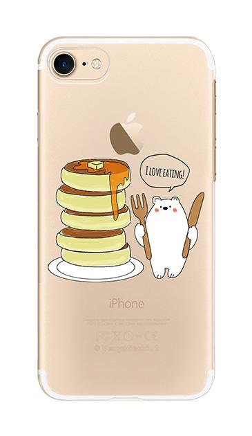 iPhone7のクリア(透明)ケース、しろくまパンケーキ【スマホケース】