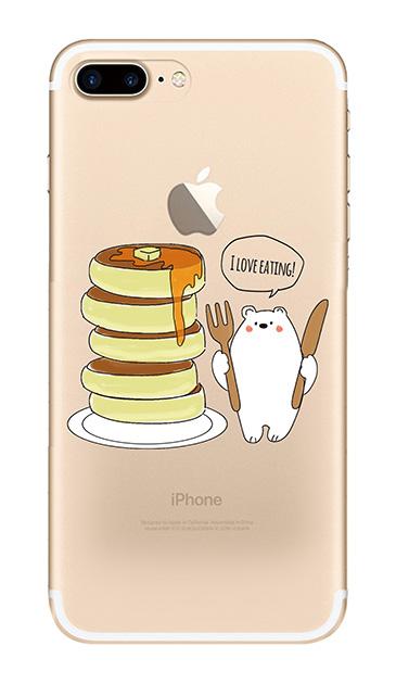 iPhone7 Plusのクリア(透明)ケース、しろくまパンケーキ【スマホケース】