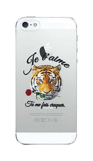 iPhone5Sのクリア(透明)ケース、タイガー刺繍デニム【スマホケース】
