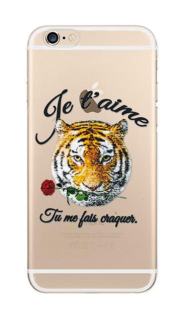 iPhone6sのクリア(透明)ケース、タイガー刺繍デニム【スマホケース】
