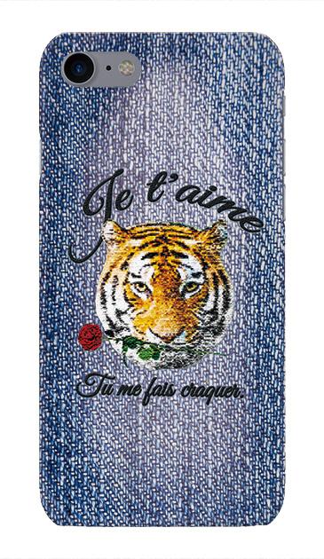 iPhone7のケース、タイガー刺繍デニム【スマホケース】