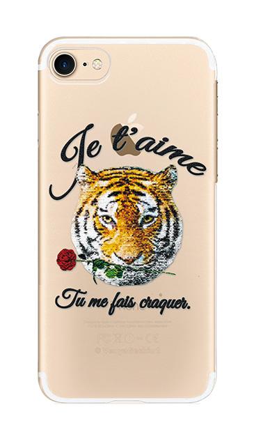 iPhone7のクリア(透明)ケース、タイガー刺繍デニム【スマホケース】