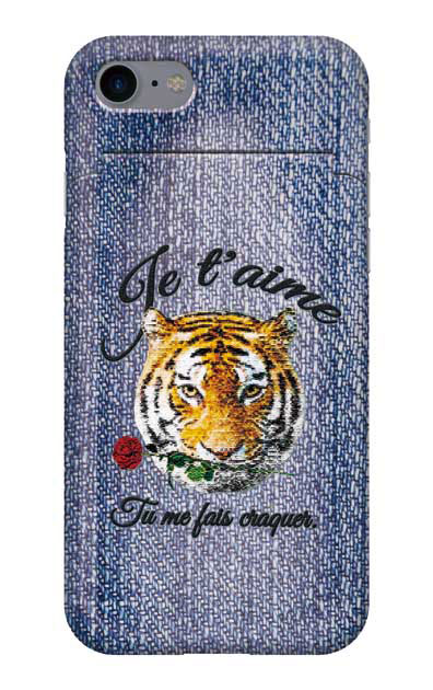 iPhone8のミラー付きケース、タイガー刺繍デニム【スマホケース】