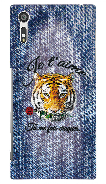 Xperia XZのケース、タイガー刺繍デニム【スマホケース】