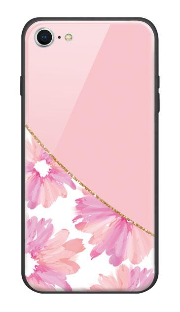 iPhone8のガラスケース、ガーリーフラワー・ツイン【スマホケース】