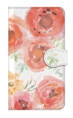 iPhone5c対応の手帳型ケース、水彩フラワー・ローズ