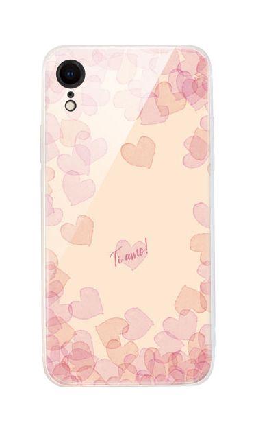iPhoneXRのケース、水彩ハートフレーム【スマホケース】