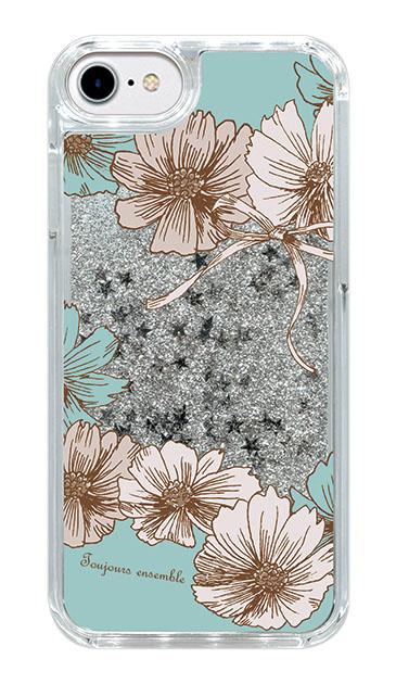 iPhone6のグリッターケース、ツインフラワー・リボン