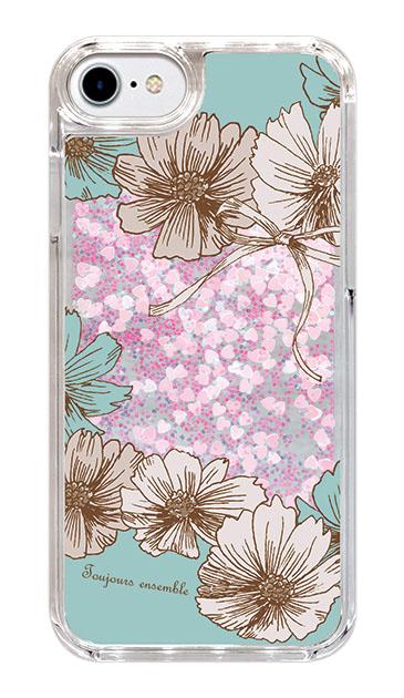 iPhone8のグリッターケース、ツインフラワー・リボン【スマホケース】