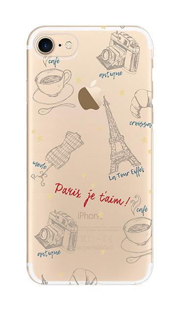 iPhone7のクリア(透明)ケース、ラフイラスト・パリ