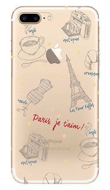 iPhone7 Plusのクリア(透明)ケース、ラフイラスト・パリ