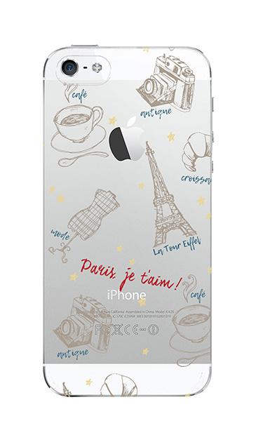 iPhoneSEのクリア(透明)ケース、ラフイラスト・パリ