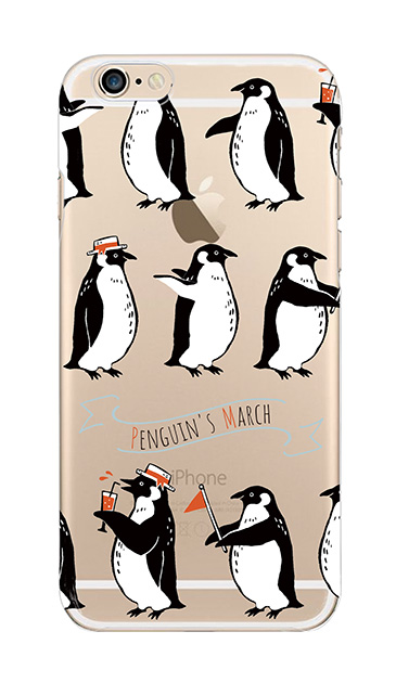 iPhone6sのクリア(透明)ケース、キュートペンギンマーチ
