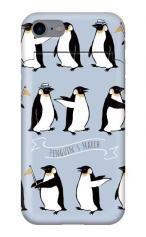 iPhone7対応のミラーつきケース、キュートペンギンマーチ【スマホケース】