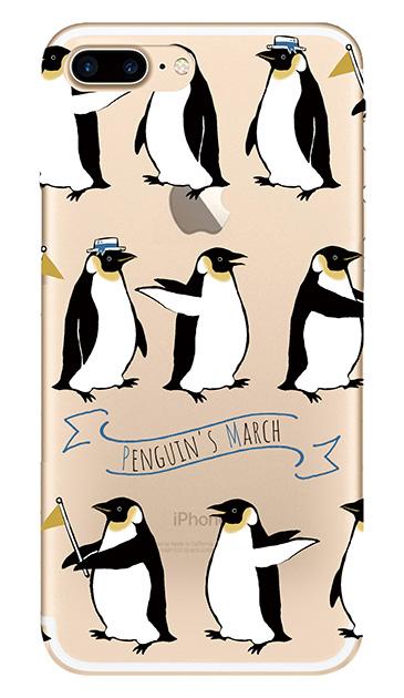 iPhone7 Plusのクリア(透明)ケース、キュートペンギンマーチ