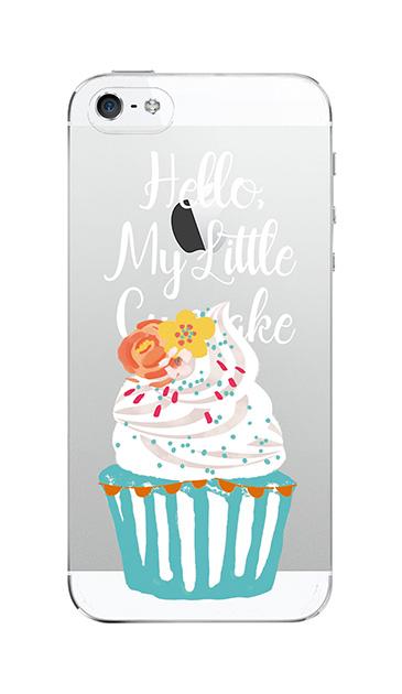 iPhone5Sのクリア(透明)ケース、キュートフラワーカップケーキ【スマホケース】