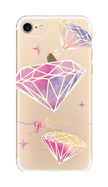 iPhone8のクリア(透明)ケース、ダイヤモンドグリッター【スマホケース】